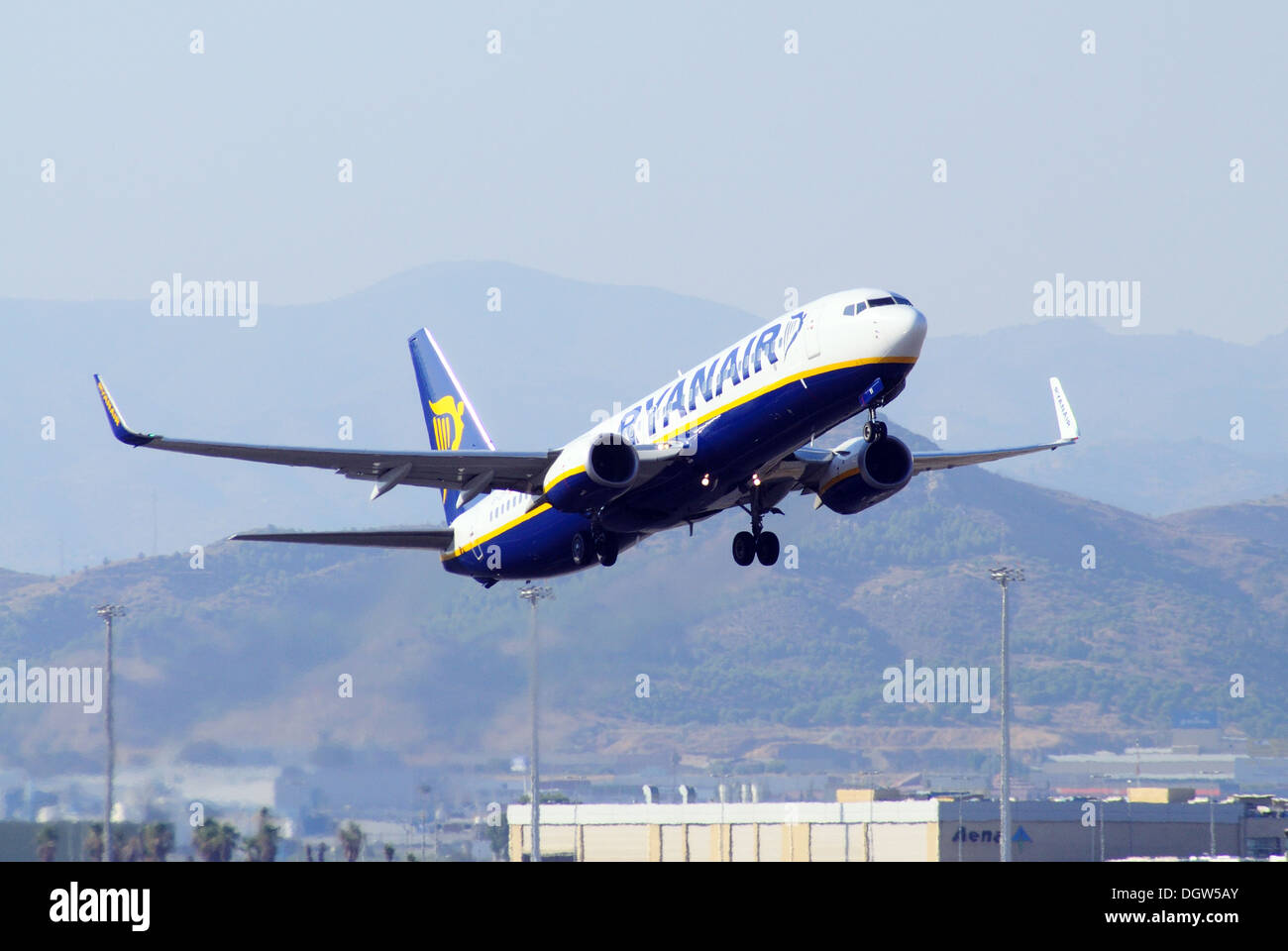 Ryanair Boeing 737-800 taking off from Malaga airport, Malaga, Costa Stock Photo, Royalty Free ...