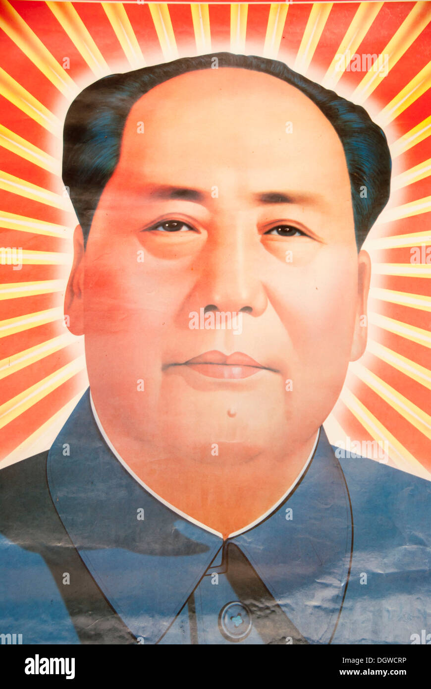 Portrait of Mao Zedong, poster in Boun Neua, Phangsali or ...