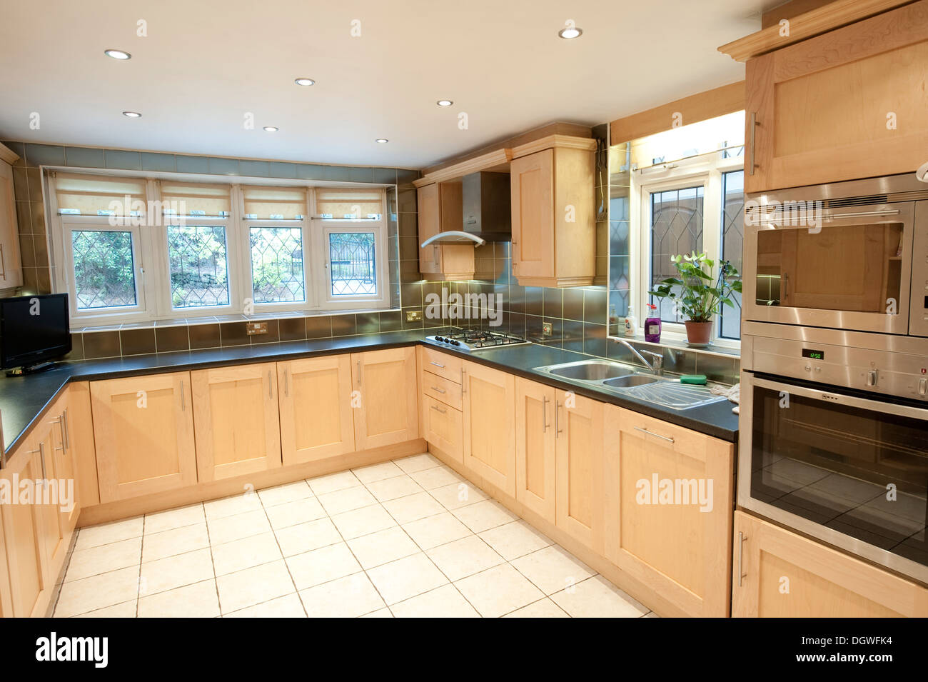 Modern Domestic House Fitted Kitchen Large Big Nice Stock Photo