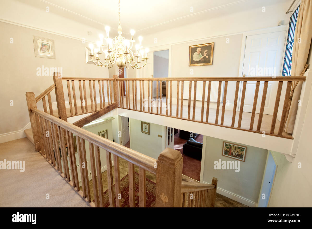 Large house domestic landing hallway wood bannister stock for House landing