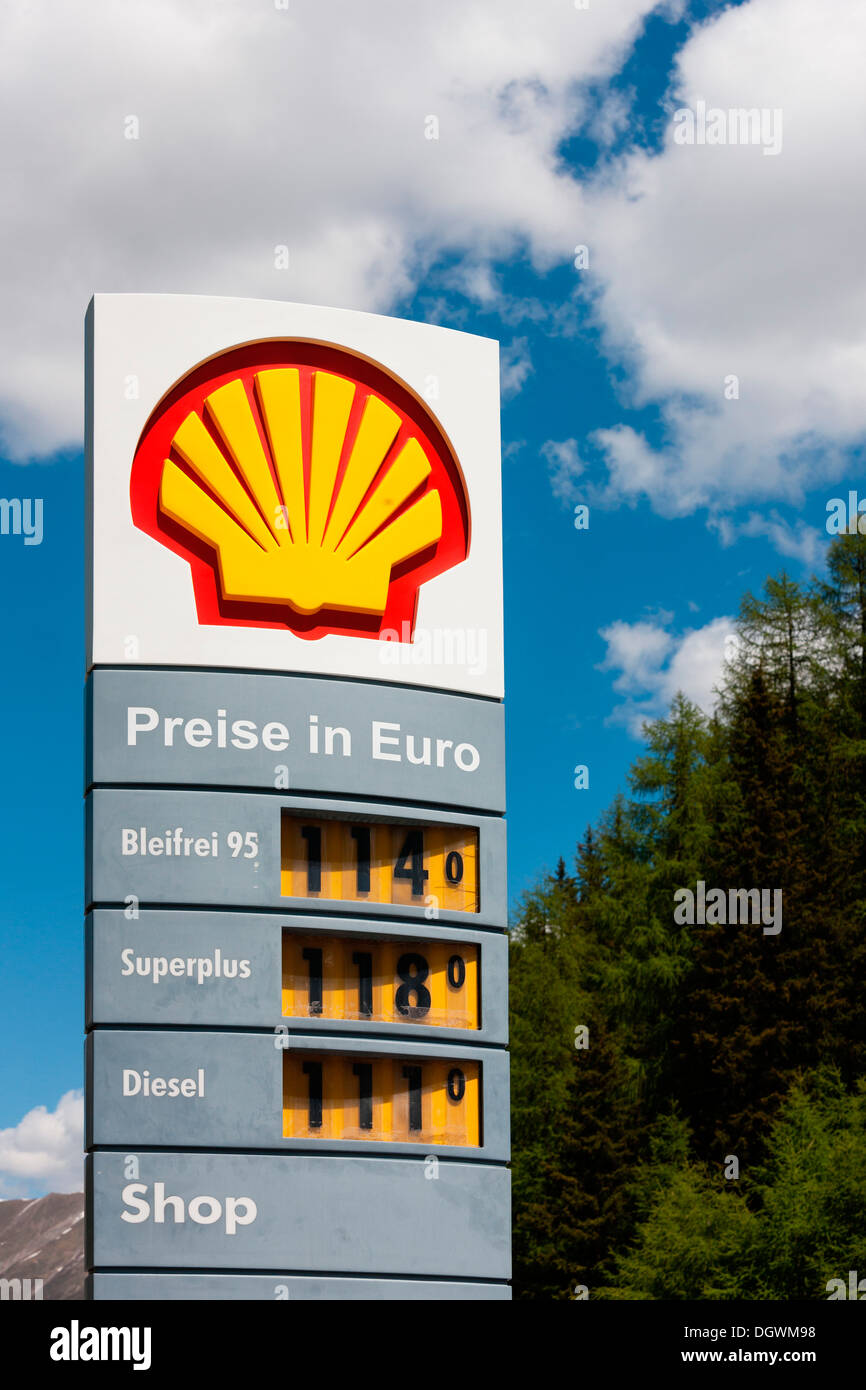 Cheap Gas Prices >> Shell petrol station, petrol prices, duty-free refuelling in Samnaun Stock Photo, Royalty Free ...