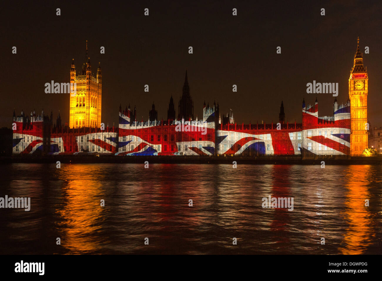 british flag union jack projection on the facade houses of stock