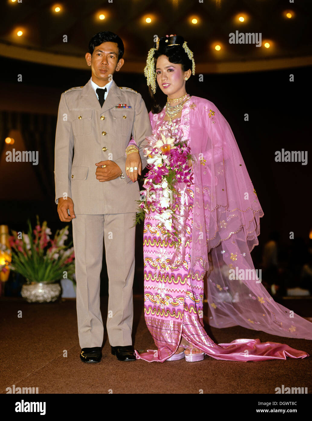 Bridal couple groom wearing a military uniform bride for Free wedding dresses for military brides