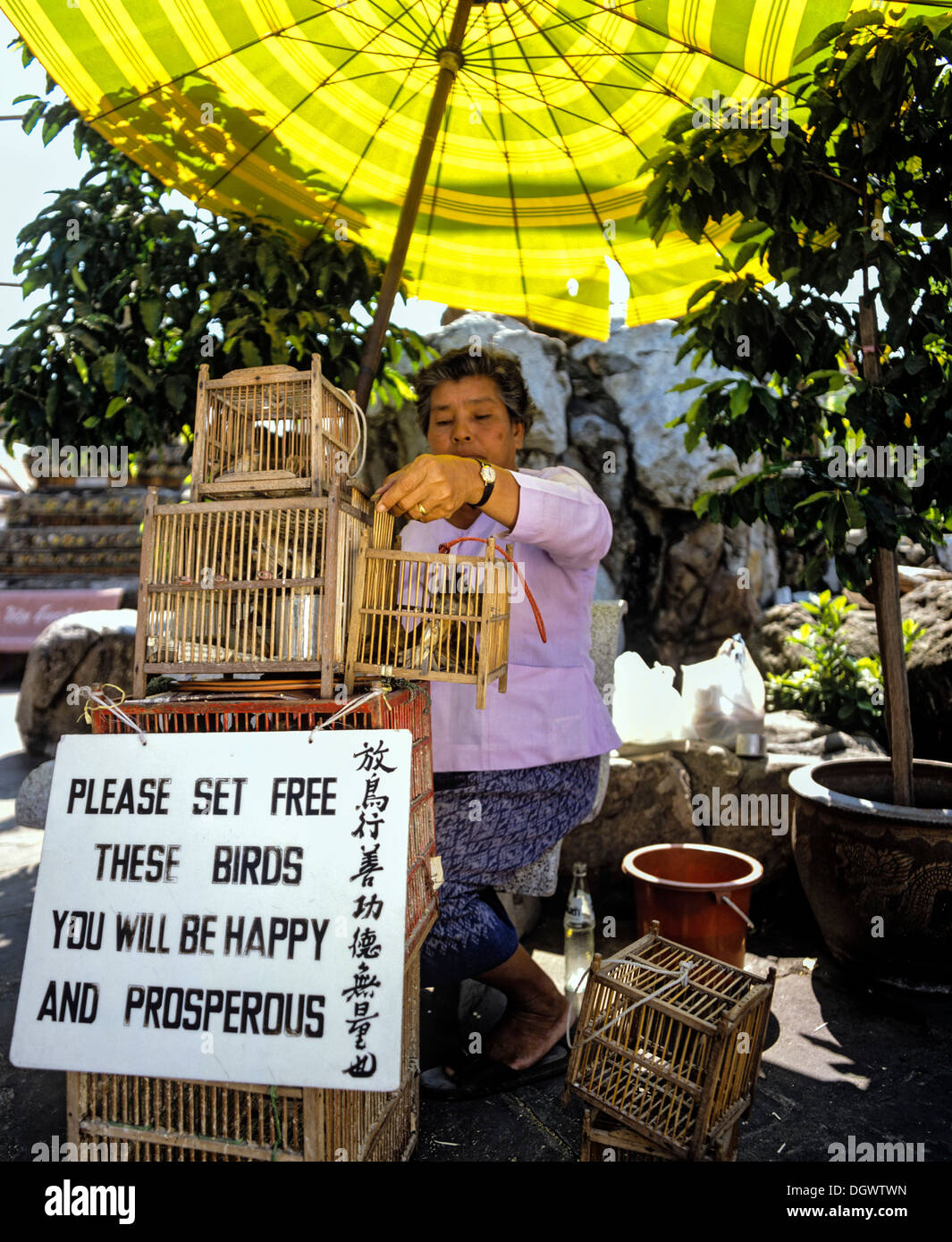 bird saleswoman with bird cages releasing caged birds for good