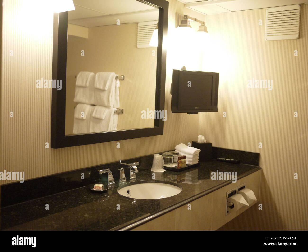 Hotel bathroom mirrors - Stock Photo Hotel Bathroom Mirror Facade