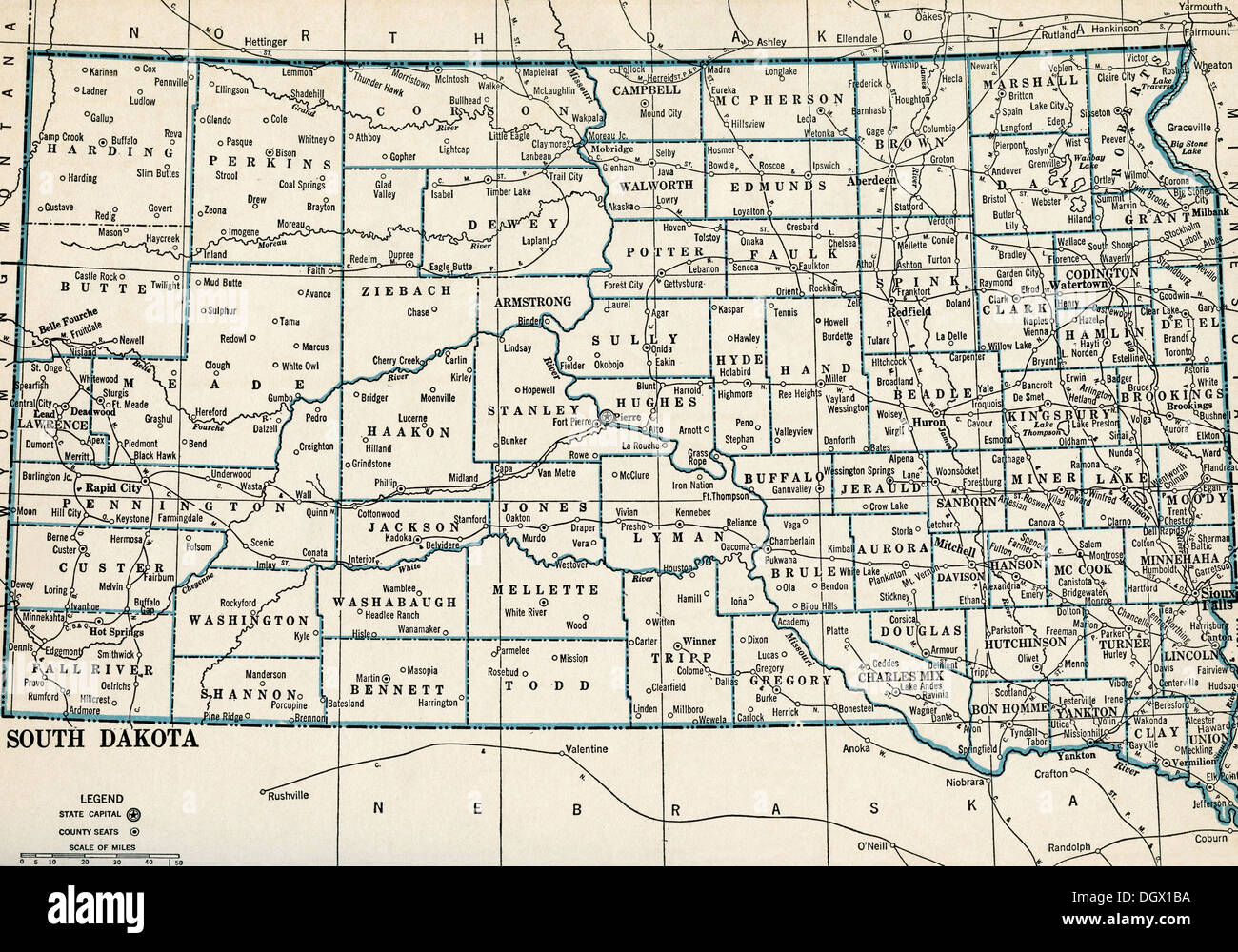 Old Map Of South Dakota S Stock Photo Royalty Free Image - Map of south dakota