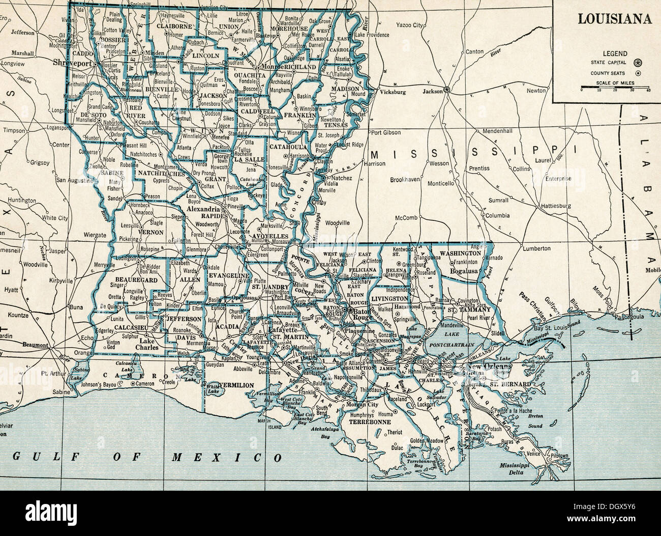 Old Map Of Louisiana State S Stock Photo Royalty Free Image - Louisana state map