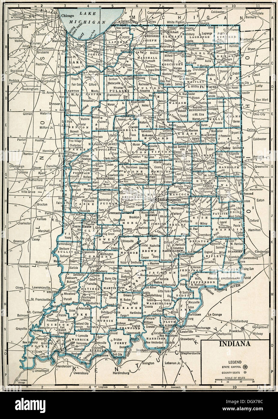 Old Map Of Indiana State S Stock Photo Royalty Free Image - Indiana state map