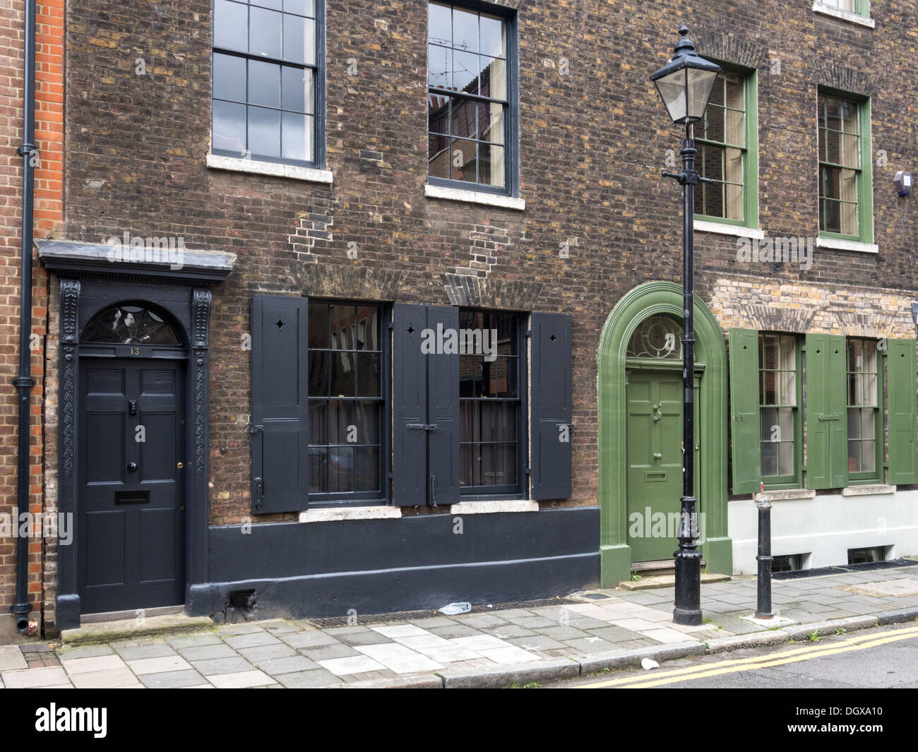 front of a victorian house in spitalfields london stock photo