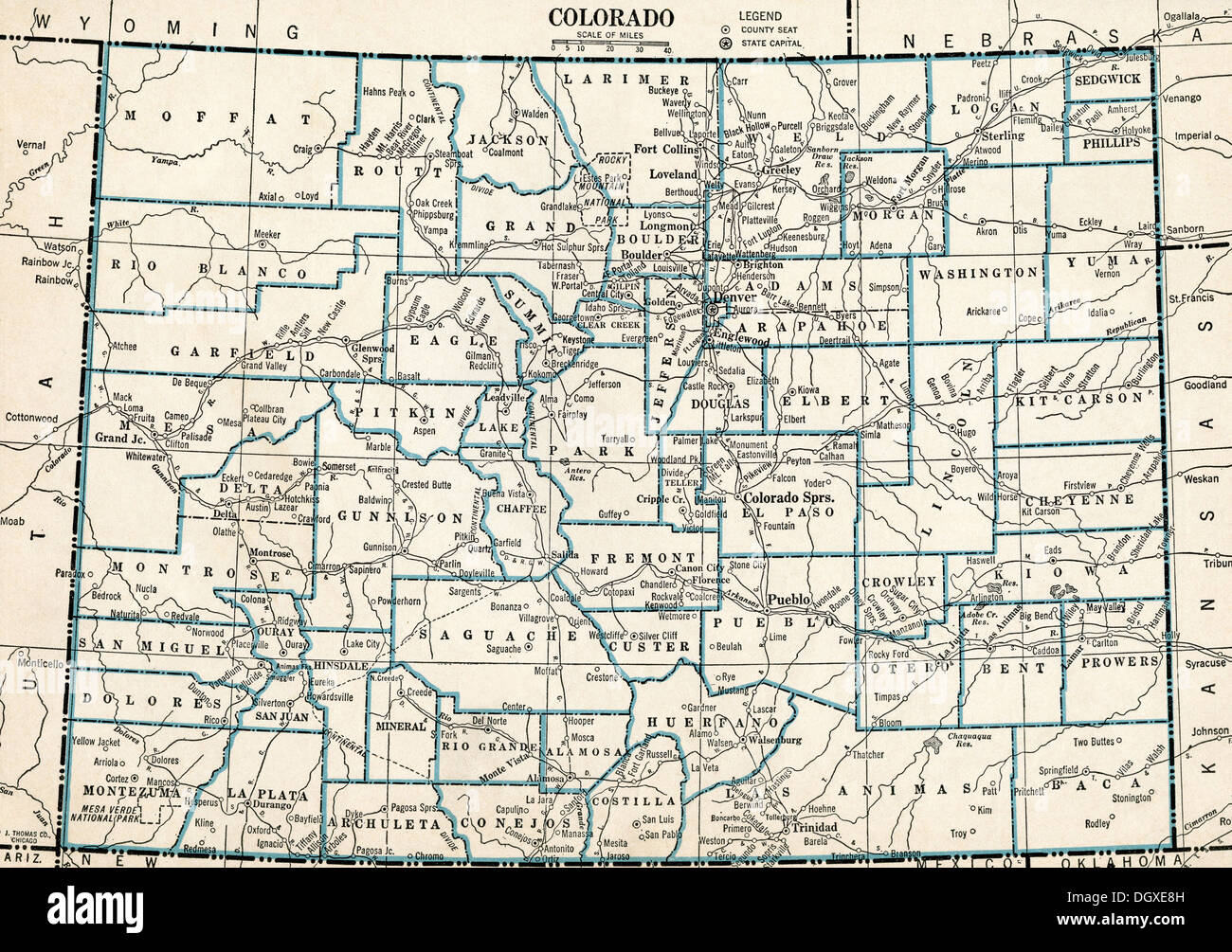 Old Map Of Colorado State S Stock Photo Royalty Free Image - Colorado state map