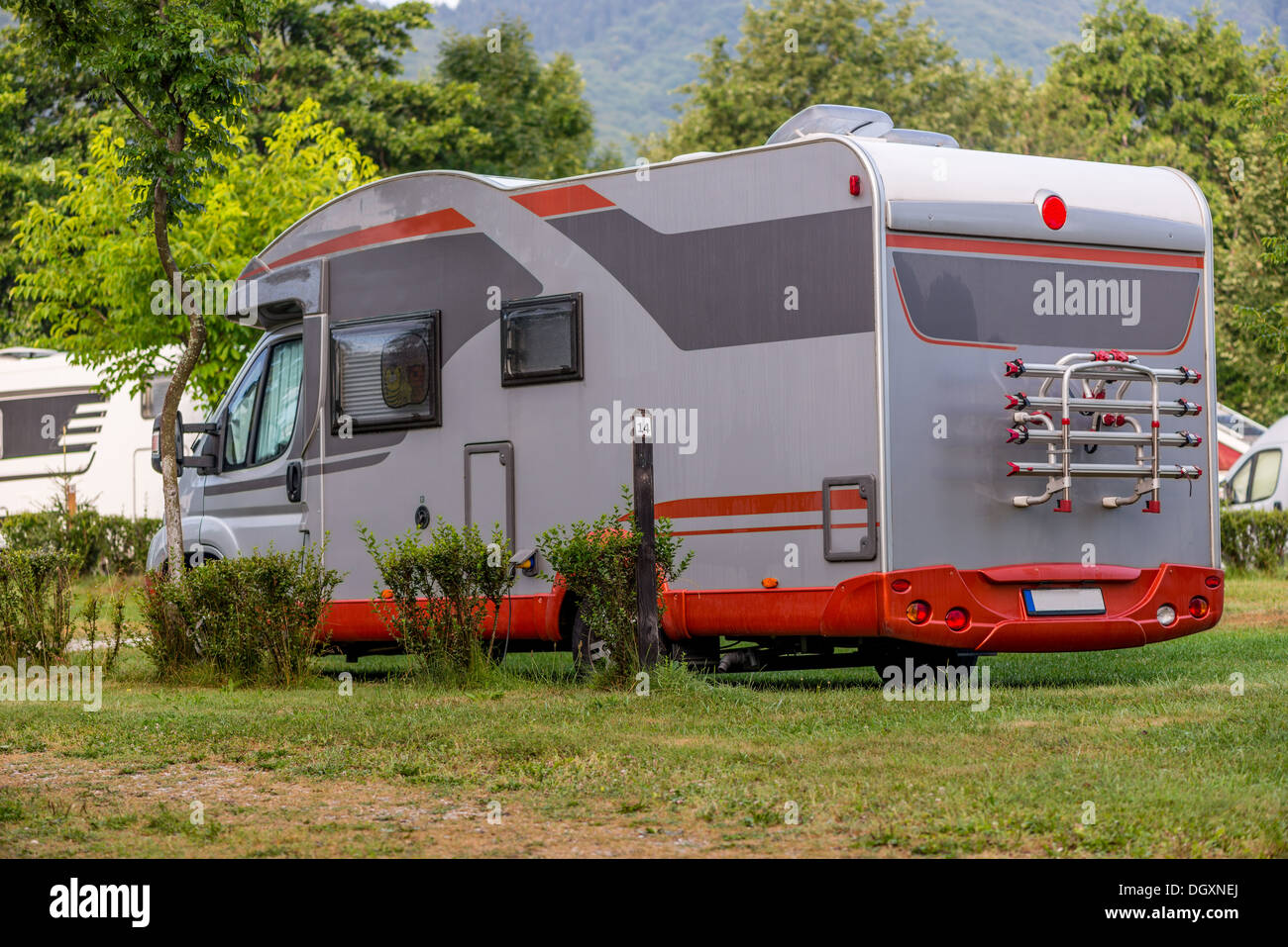 Mobile Home Camping Vehicle Trailer Car Tent Summer Holiday Vacations Park Travel Destinations Field Grass