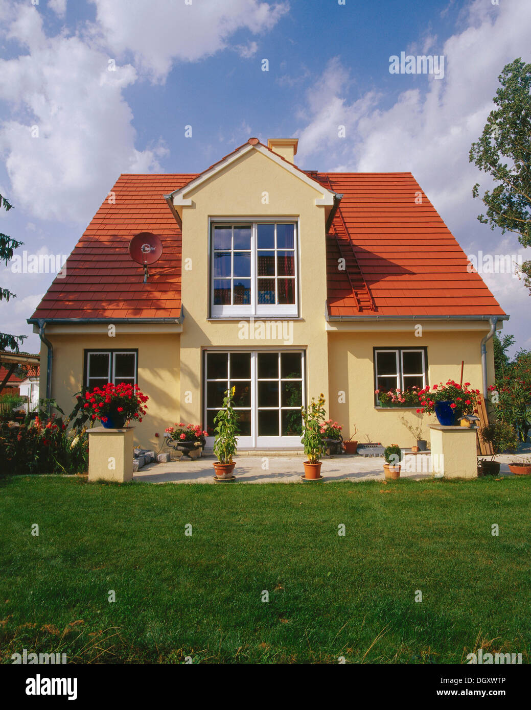small house with a garden red gabled roof dormer erding bavaria stock photo royalty free. Black Bedroom Furniture Sets. Home Design Ideas