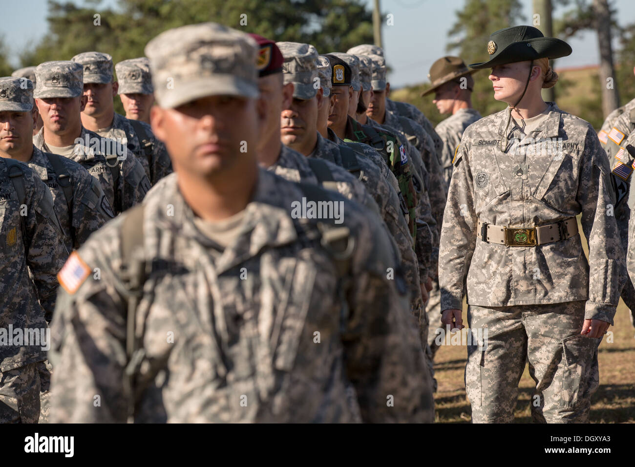 Male and female Drill Sergeant candidates at the US Army Drill ...