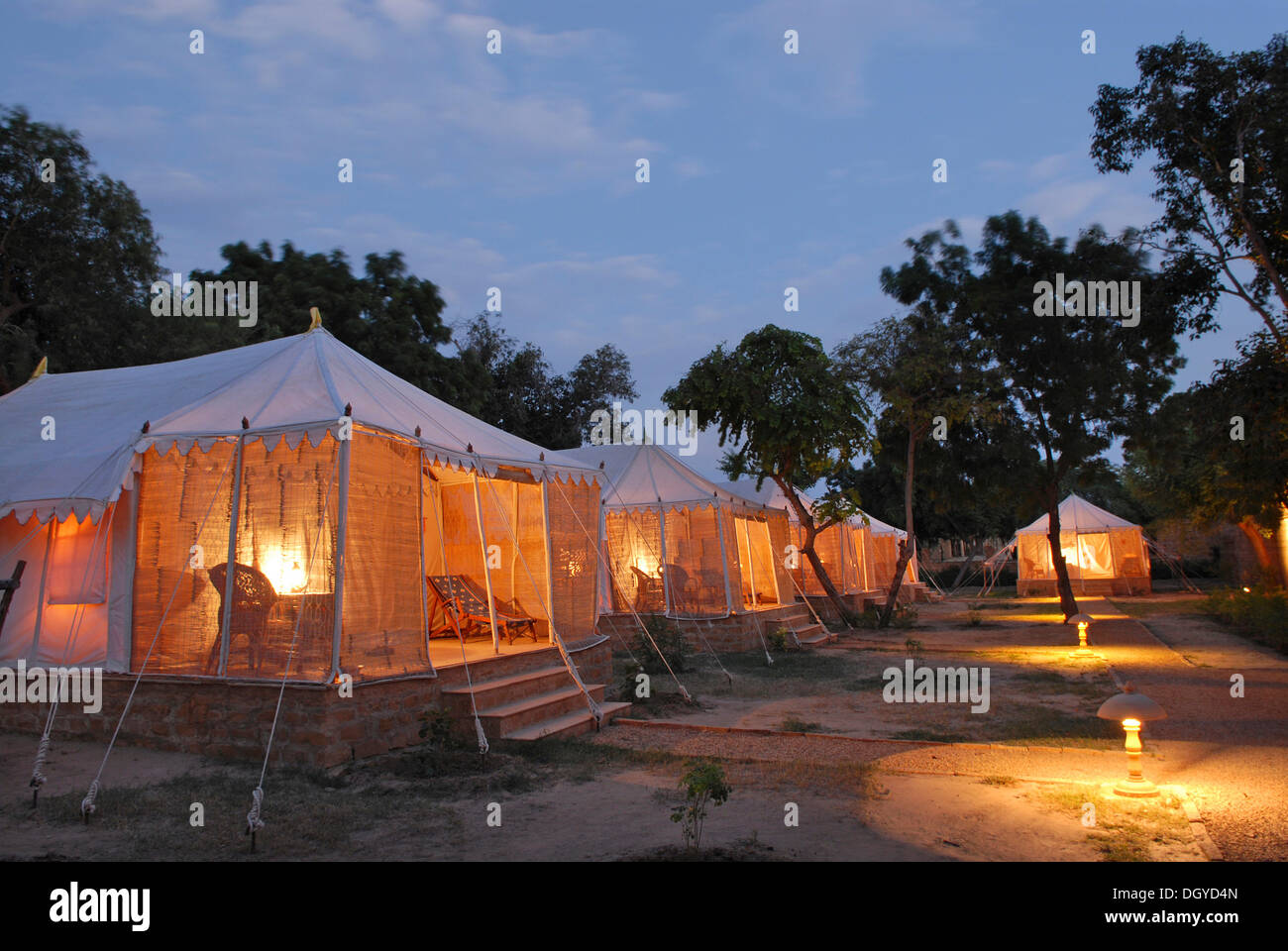 Tents illuminated from the inside Royal Jodhpur C& in Mool Sagar heritage hotel and pleasure gardens of the Maharajas of & Tents illuminated from the inside Royal Jodhpur Camp in Mool ...