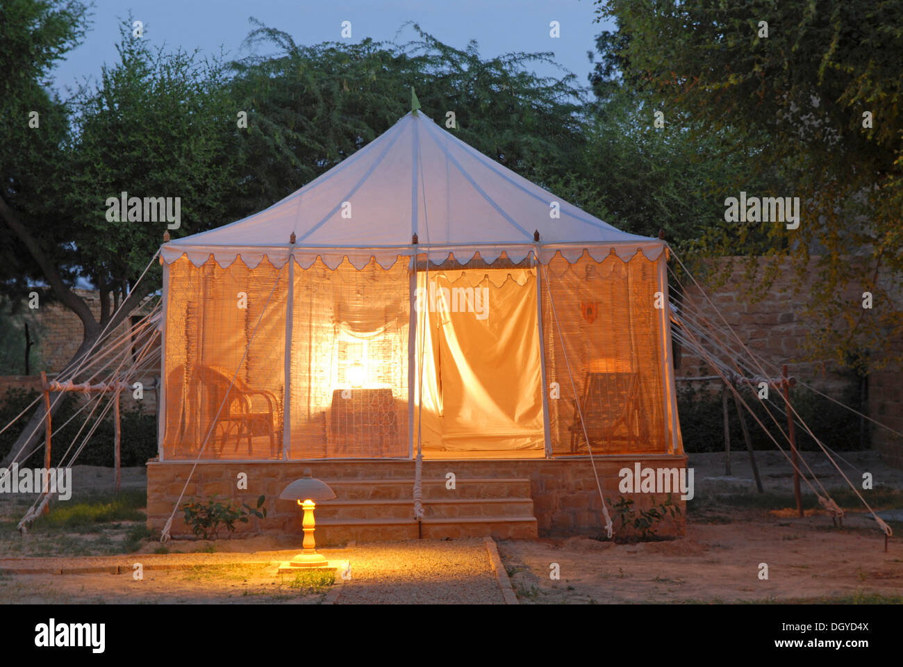 Tent illuminated from the inside Royal Jodhpur C& in Mool Sagar heritage hotel and pleasure gardens of the Maharajas of & Tent illuminated from the inside Royal Jodhpur Camp in Mool ...