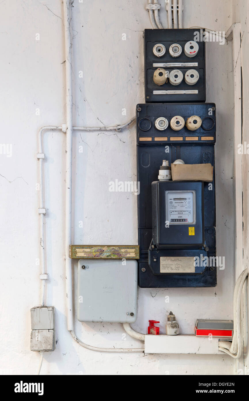 old fuse box with an electricity meter and electrical wiring on a DGYE2N old electrical box stock photos & old electrical box stock images clipsal fuse box at eliteediting.co