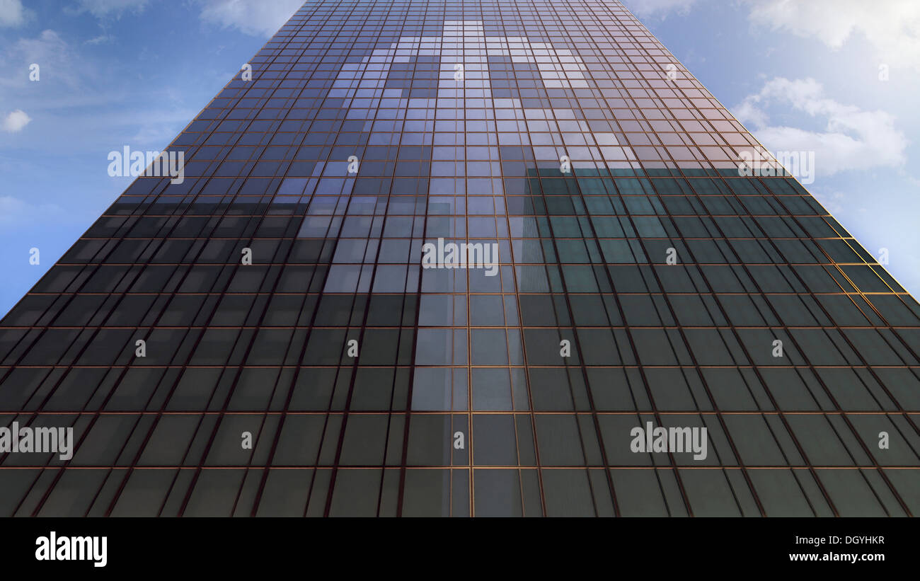 a dollar sign on the windows of an office building low angle view building an office
