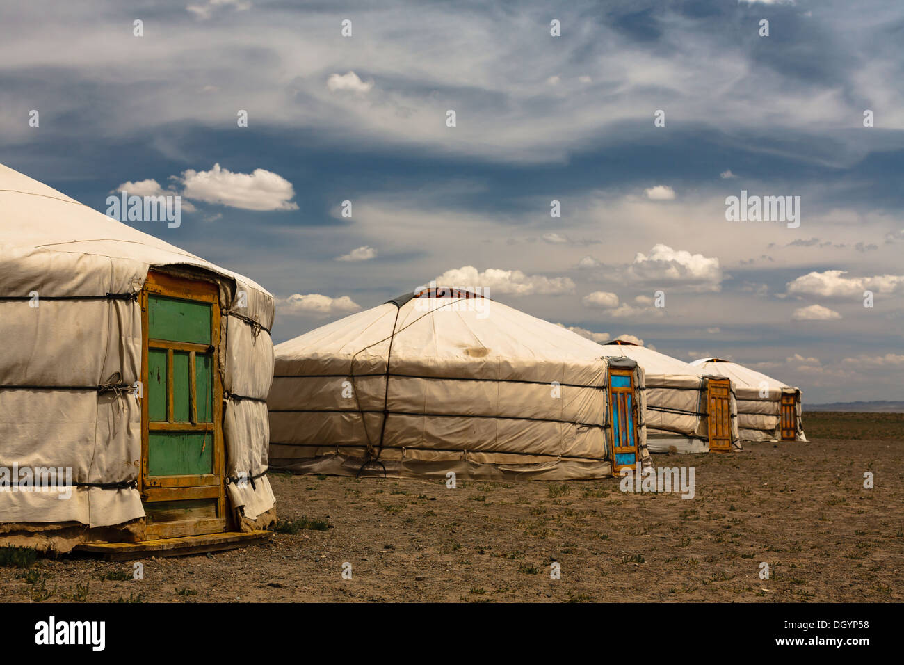 Four Traditional Tent Homes Of The Nomads Called Gers With
