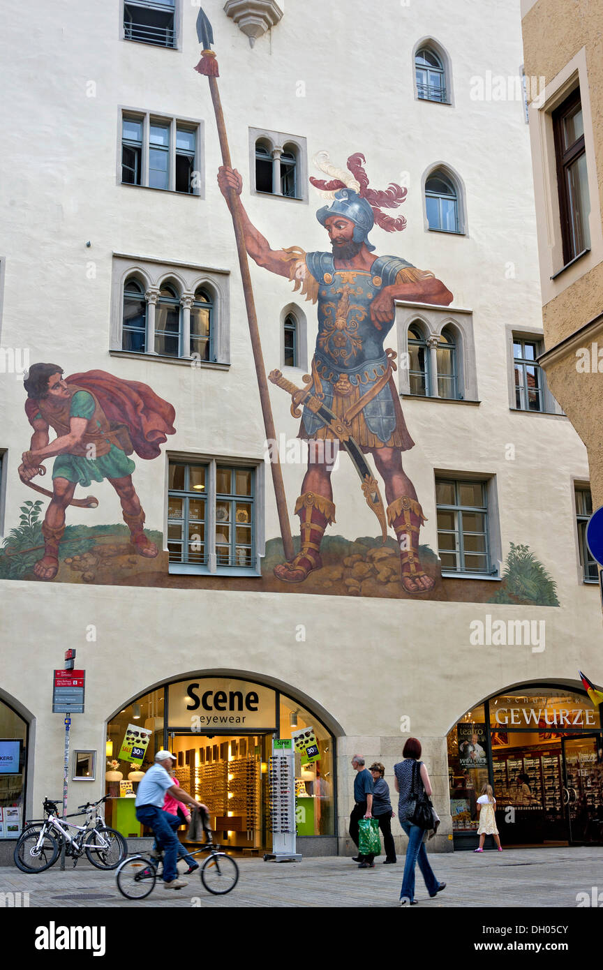 fresco of david and goliath goliath house goliathstrasse historic stock photo royalty free. Black Bedroom Furniture Sets. Home Design Ideas