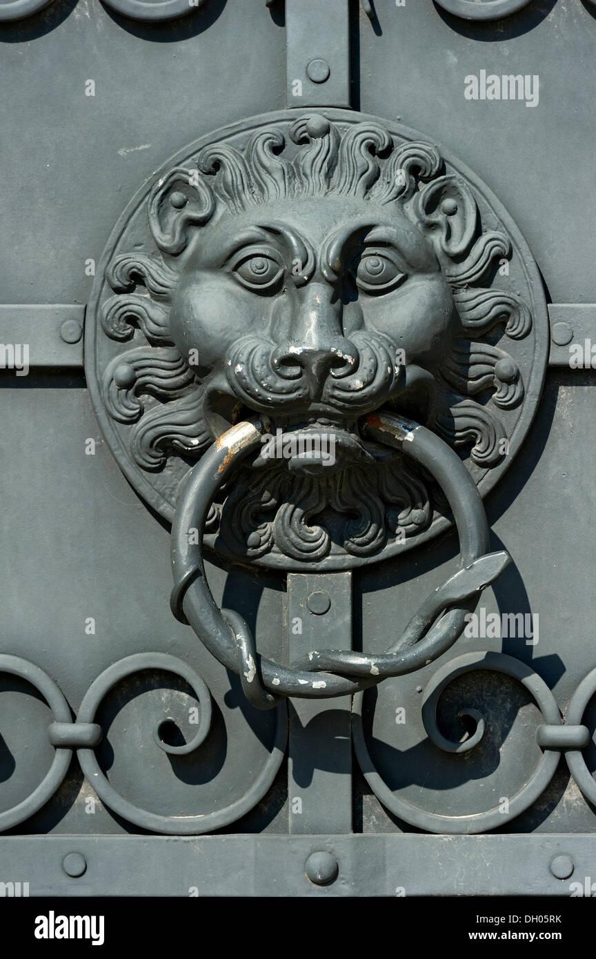 Wrought Iron Door Knocker, Lion Head, Outer Wall, Bavarian National Museum,  Bayerisches Nationalmuseum, Prinzregentenstraße