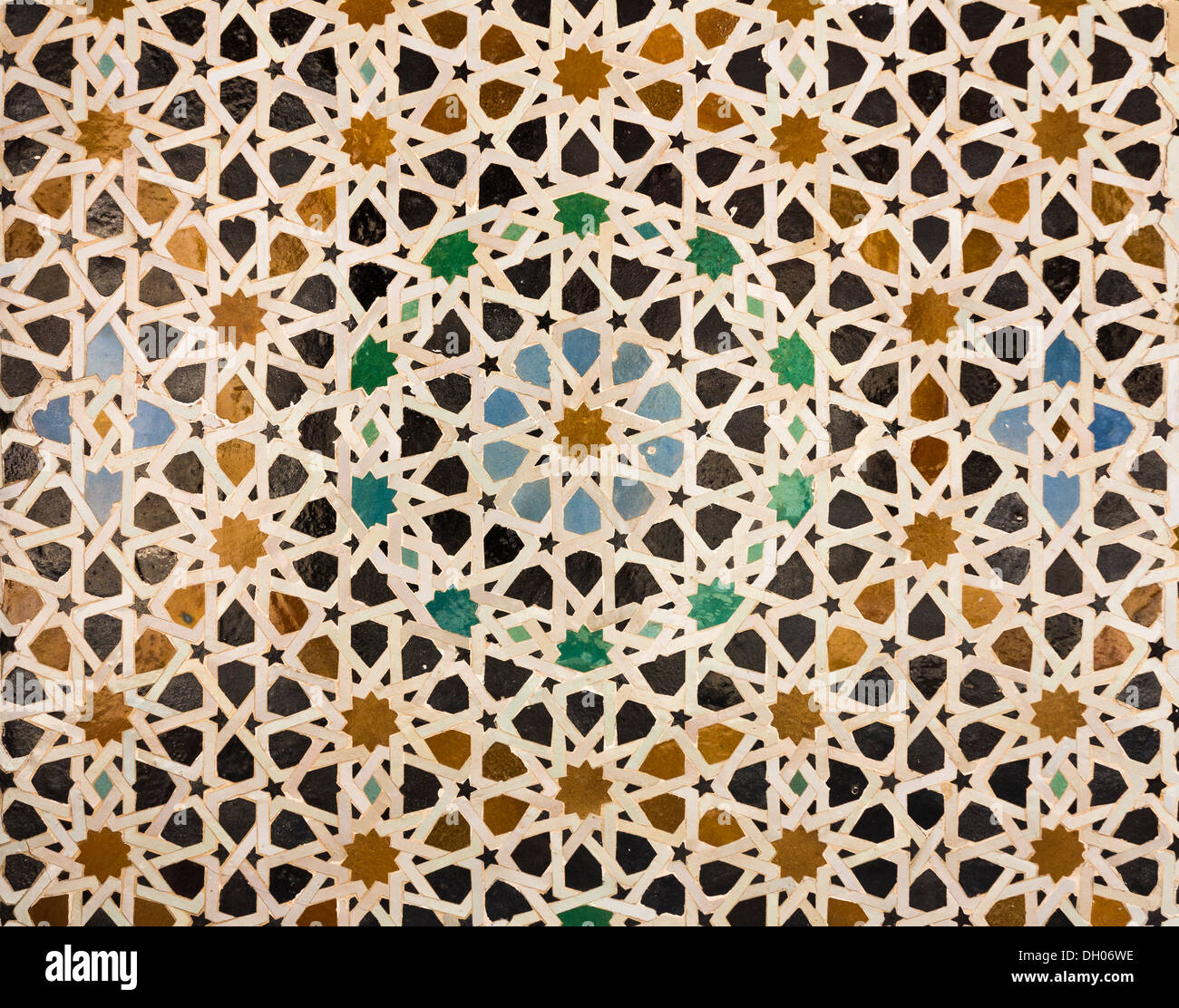 Oriental pattern mosaic of tiles in a mosque in Morocco forming concentric  circles