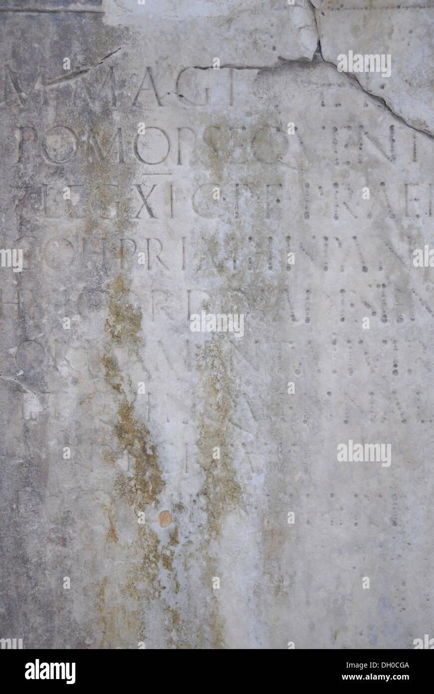 Ancient roman stone tablet with a latin inscription 1st century ad ancient roman stone tablet with a latin inscription 1st century ad forum of zadar dalmatia croatia europe publicscrutiny Image collections