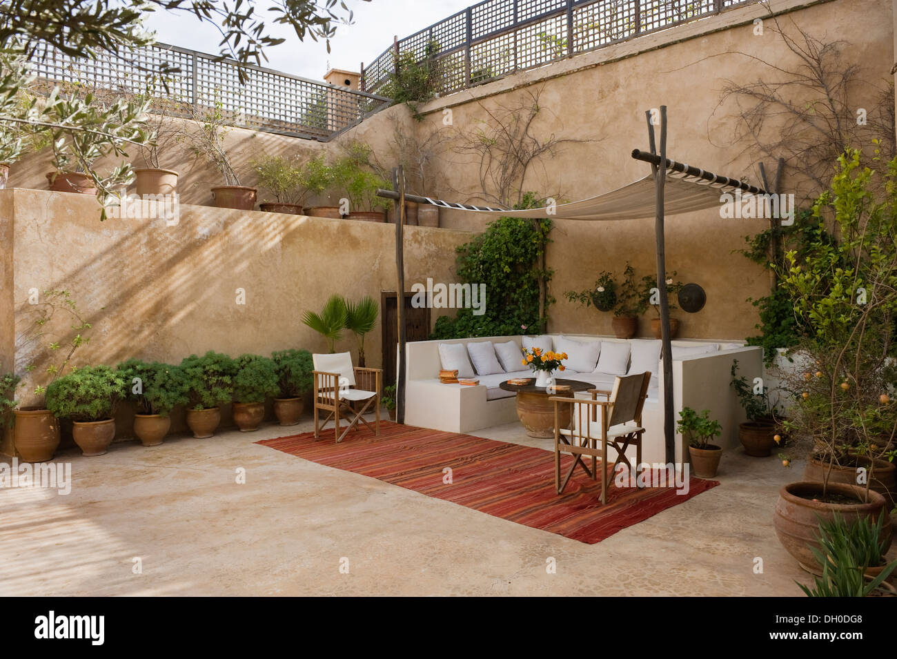 Moroccan Internal Courtyard Garden With Covered Seating