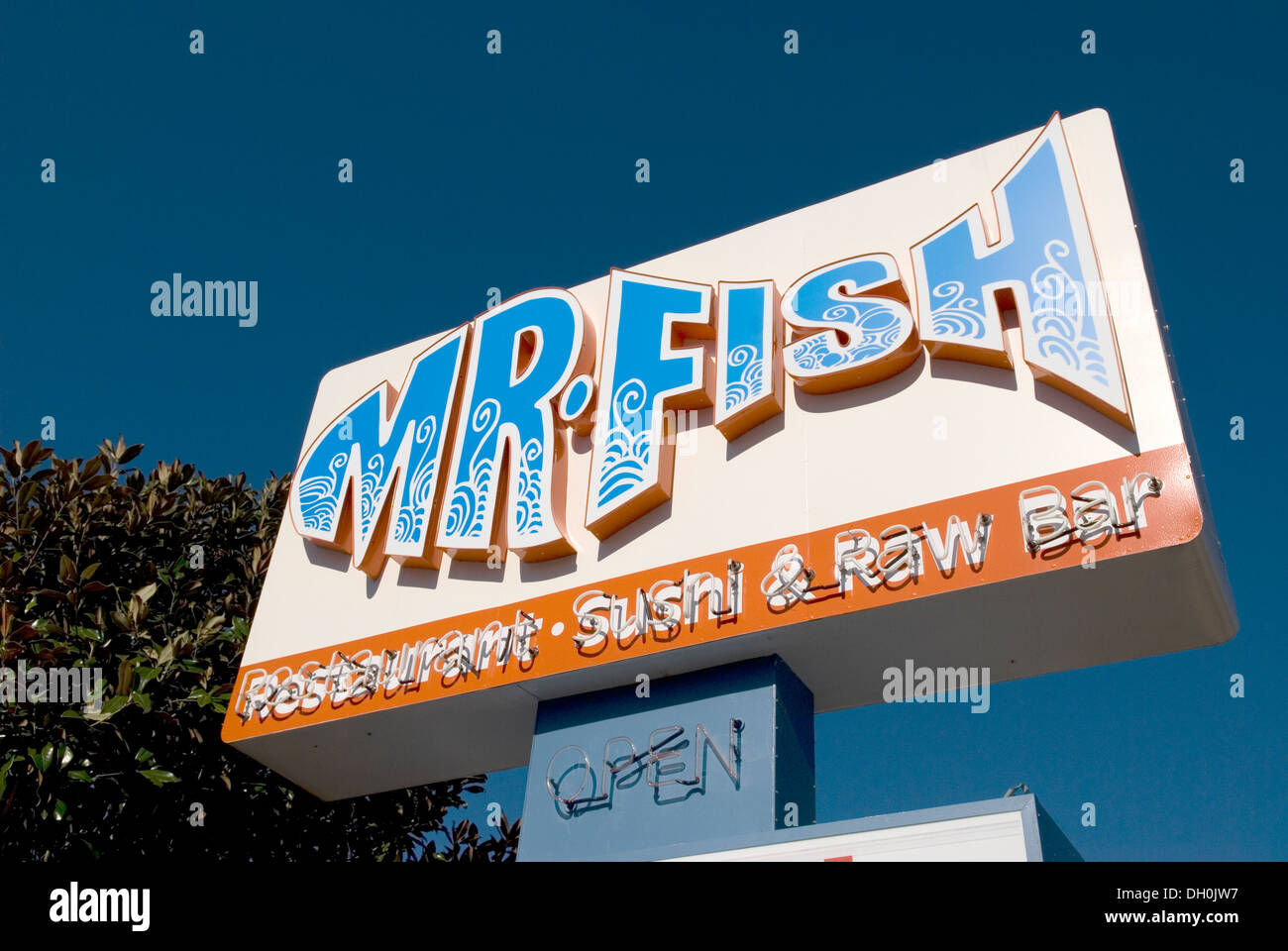 Mr fish restaurant sign myrtle beach sc stock photo for Mr fish seafood restaurant