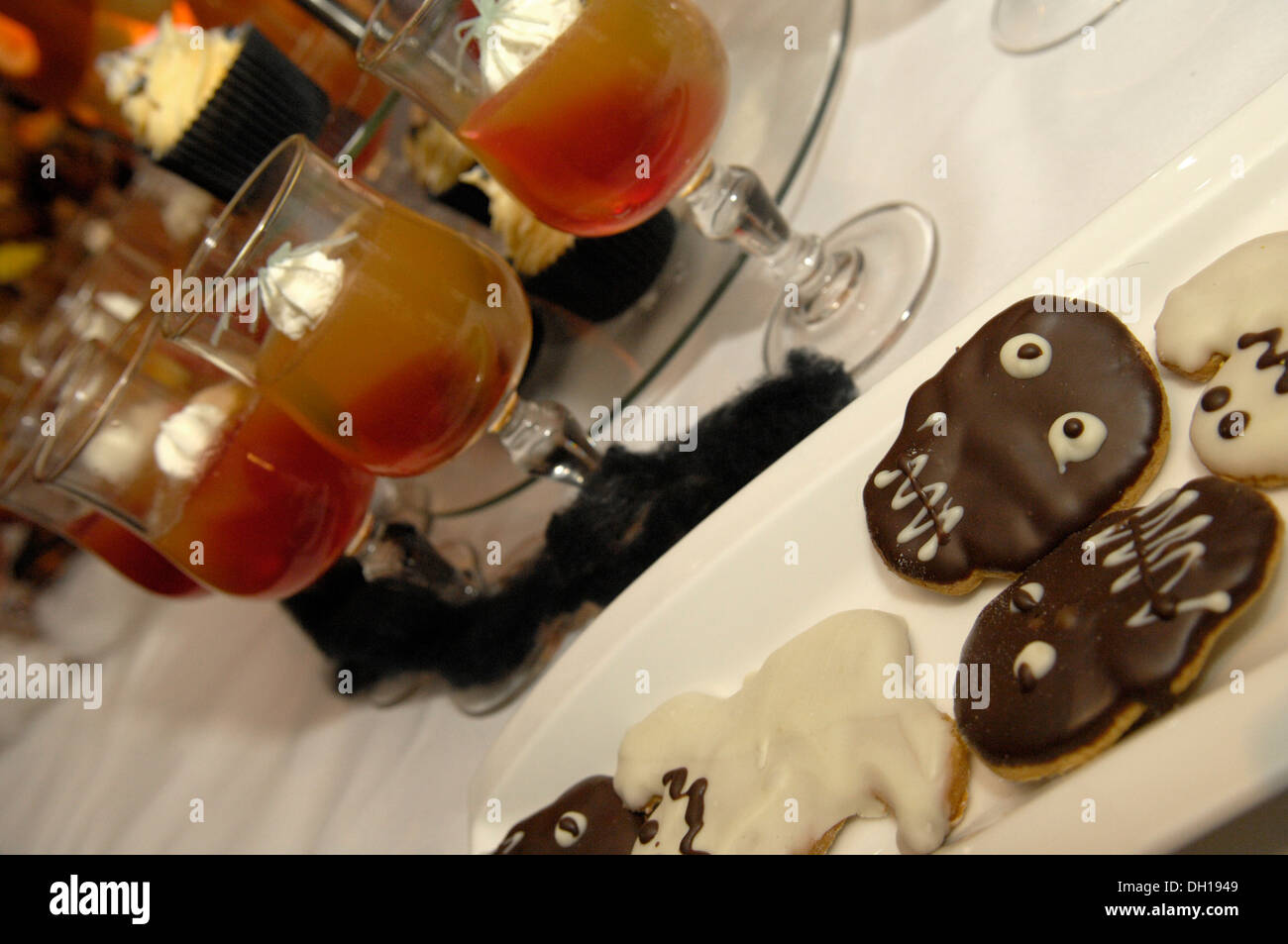A spooky spread of Halloween party finger food Stock Photo ...