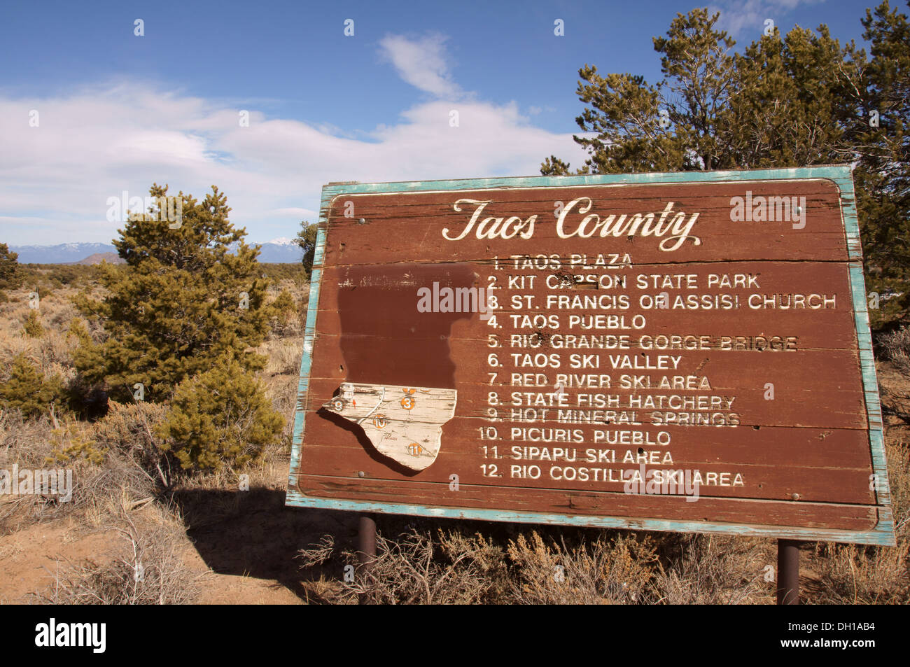 New mexico taos county carson - Stock Photo Taos County Sign New Mexico Nm Plaza Kit Carson State Park Saint St Francis Of Assisi Church Pueblo Rio Grande