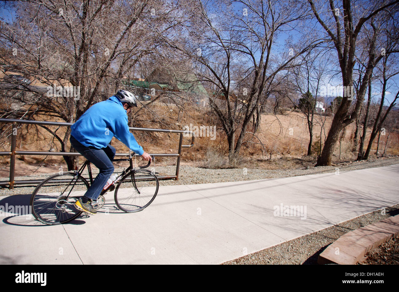 Man Male Riding Bike Bicycle Alto Bicentennial Walking Park Santa