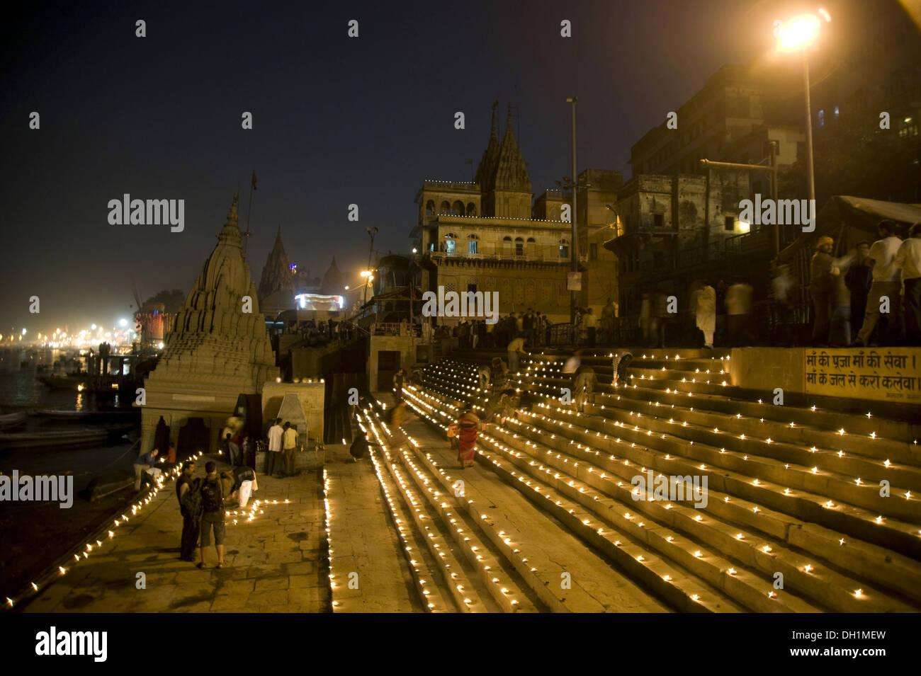 Night lamps india - Stock Photo Oil Lamps Diyas Diwali Festival Kashi Karvat Temple Scindia Ghat Varanasi Uttar Pradesh India