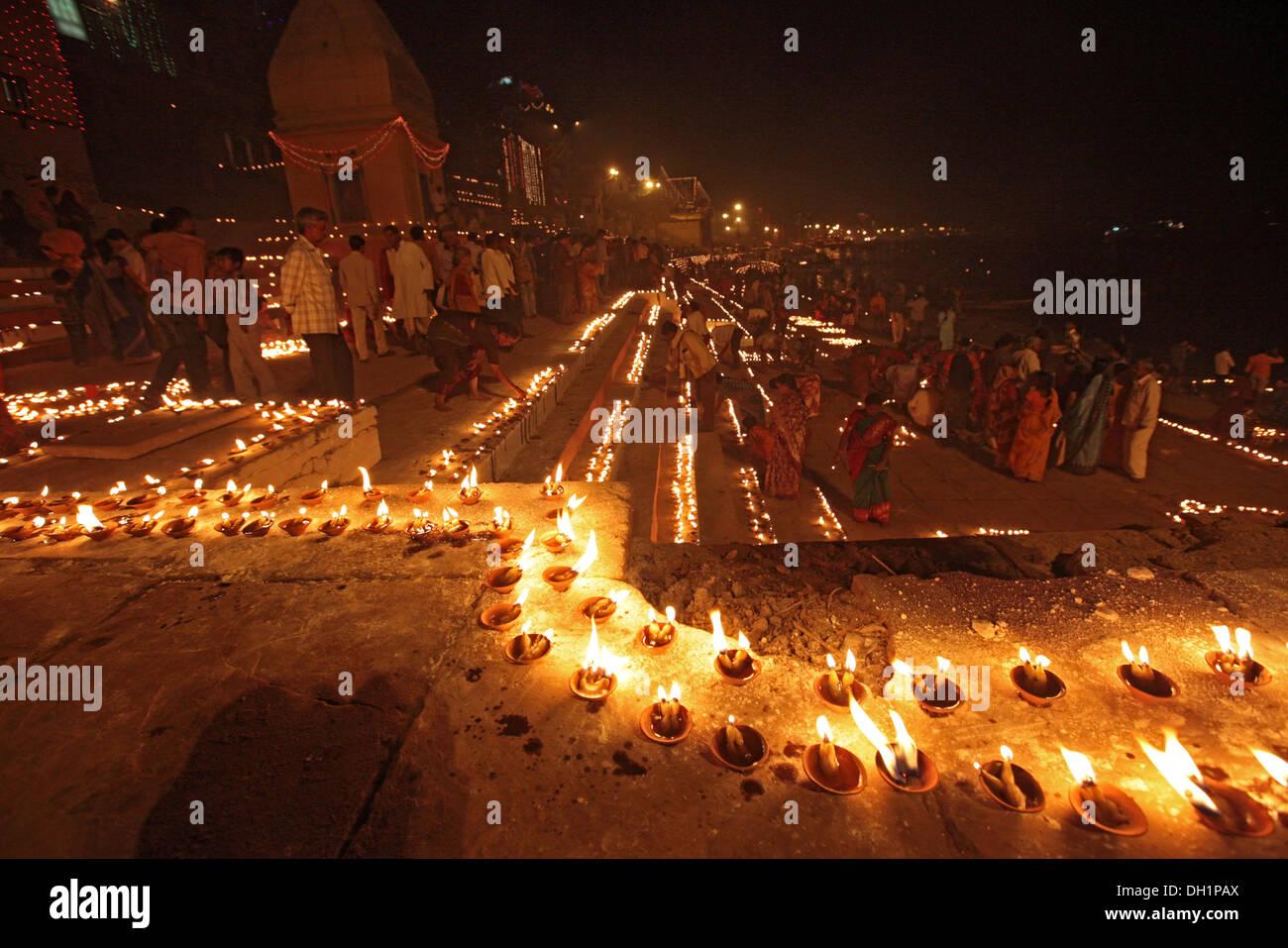 Night lamps india - Earthen Oil Lamps Lit To Celebrate Dev Deepavali On Ganga River At Varanasi Uttar Pradesh India