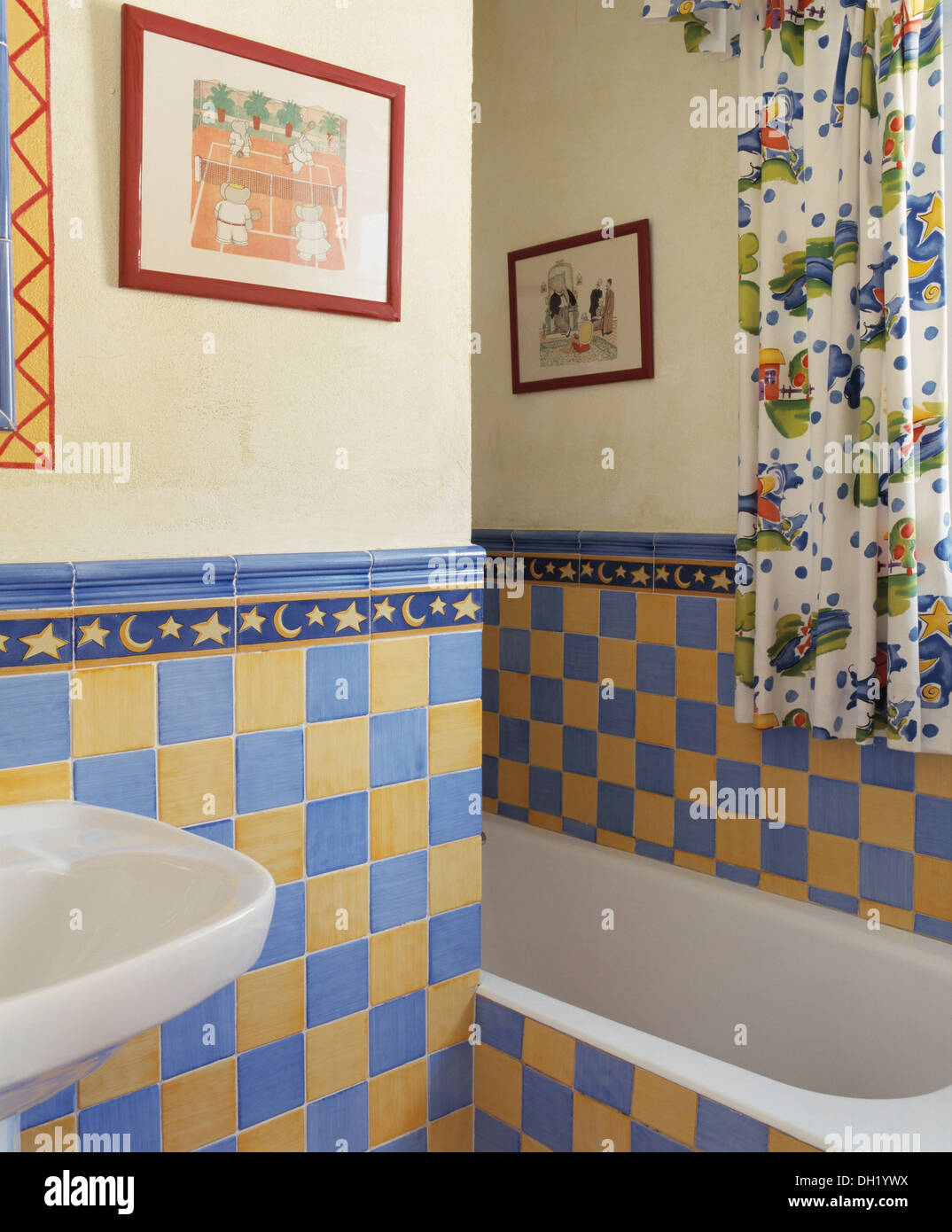 Yellow and blue wall tiles in small, Spanish country bathroom with ...