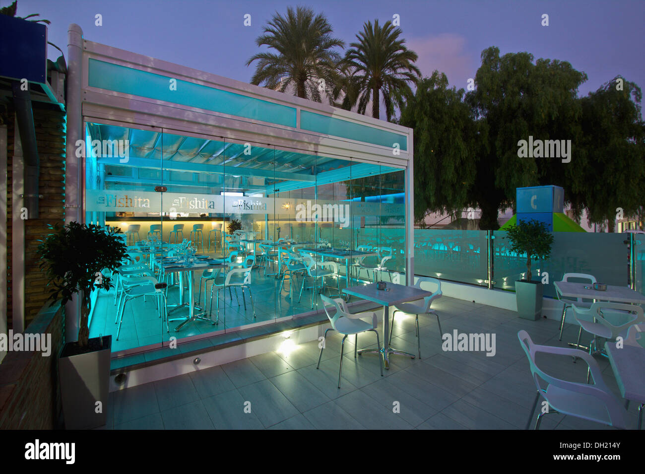 Modern glass restaurant in southern Spain, lit at night Stock ...
