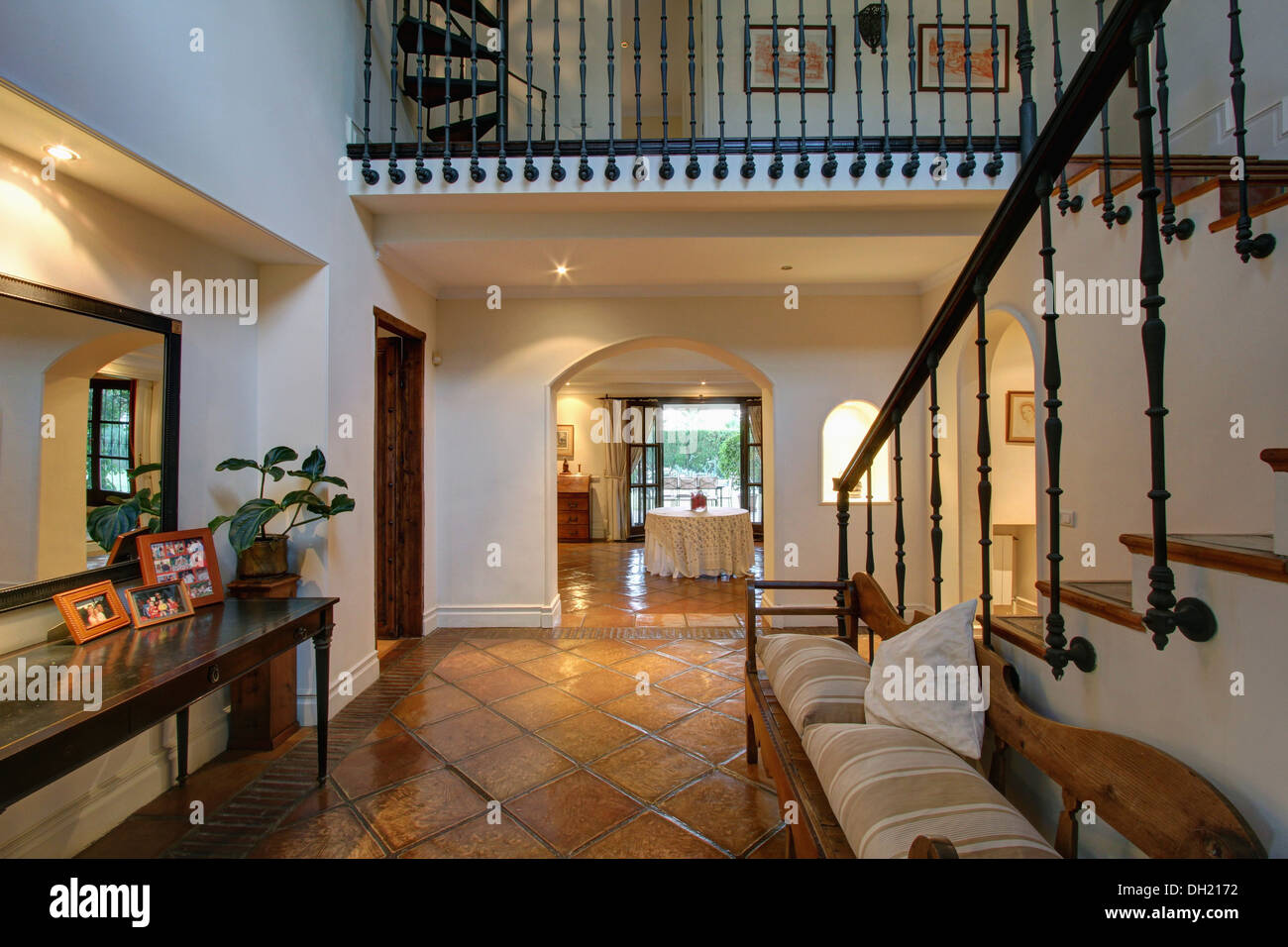 Terracotta floor tiles wooden furniture stock photos amp terracotta - Wooden Settle And Console Table In Large Hall With Terracotta Tiled Floor In Spanish Villa