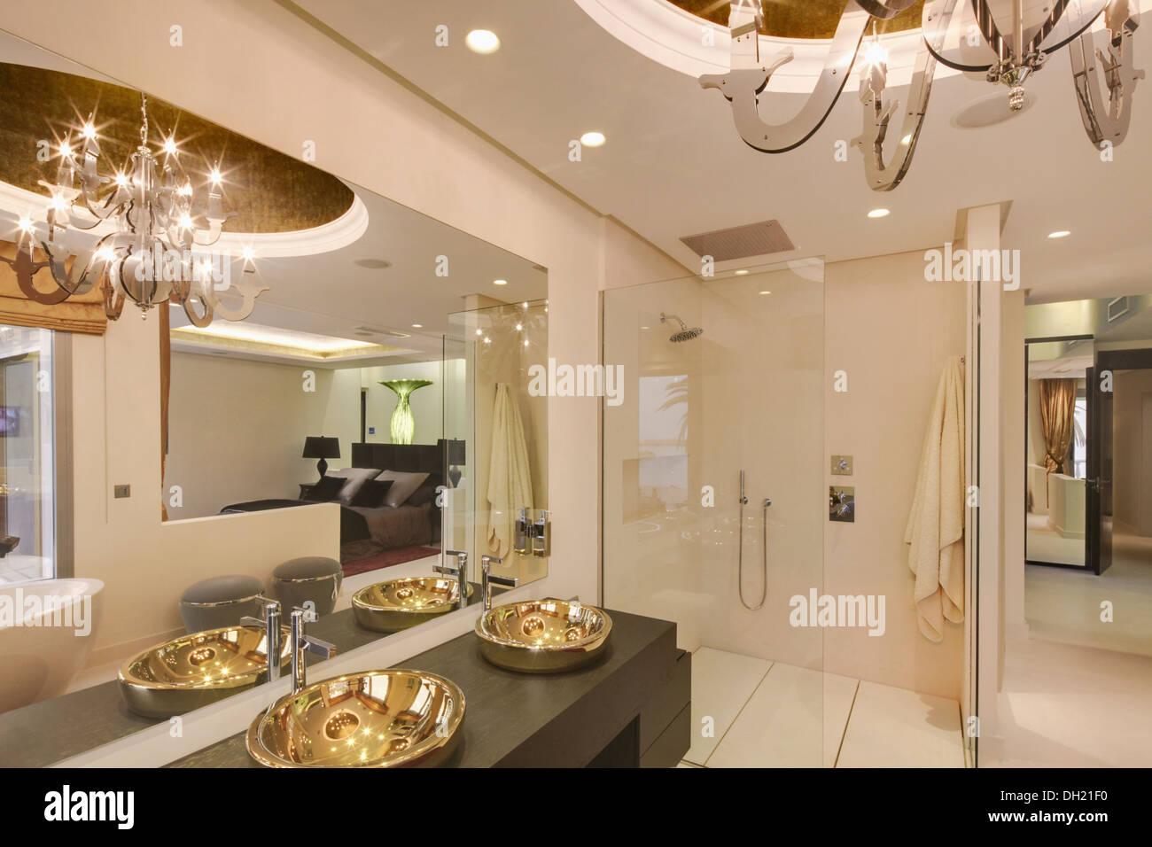 Bathroom In Spanish Large Mirror Above Gold Basins In Modern White Spanish Bathroom