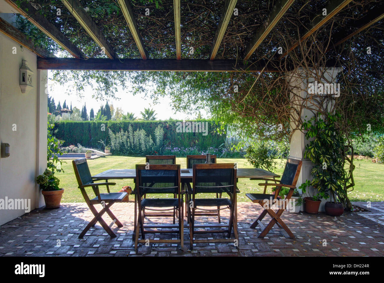 Climbers on wooden pergola above terracotta tiled terrace for Terrace pergola