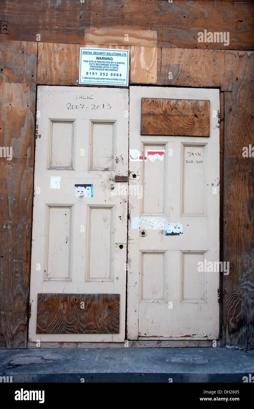 Stock Photo  Temporary Wooden Door Doors Hoarding Wood