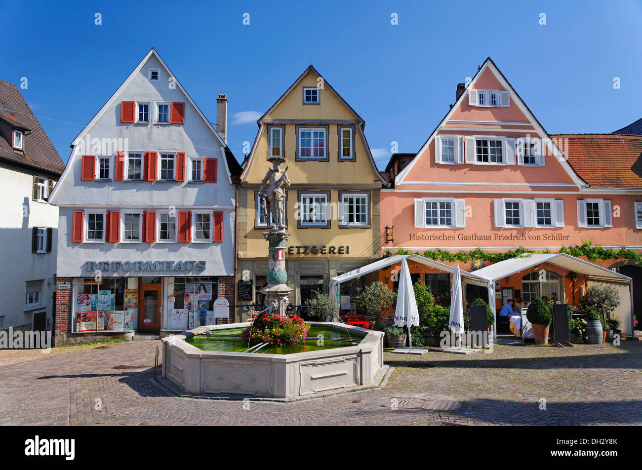 germany baden wuerttemberg bietigheim houses fountains stock photo royalty free image. Black Bedroom Furniture Sets. Home Design Ideas