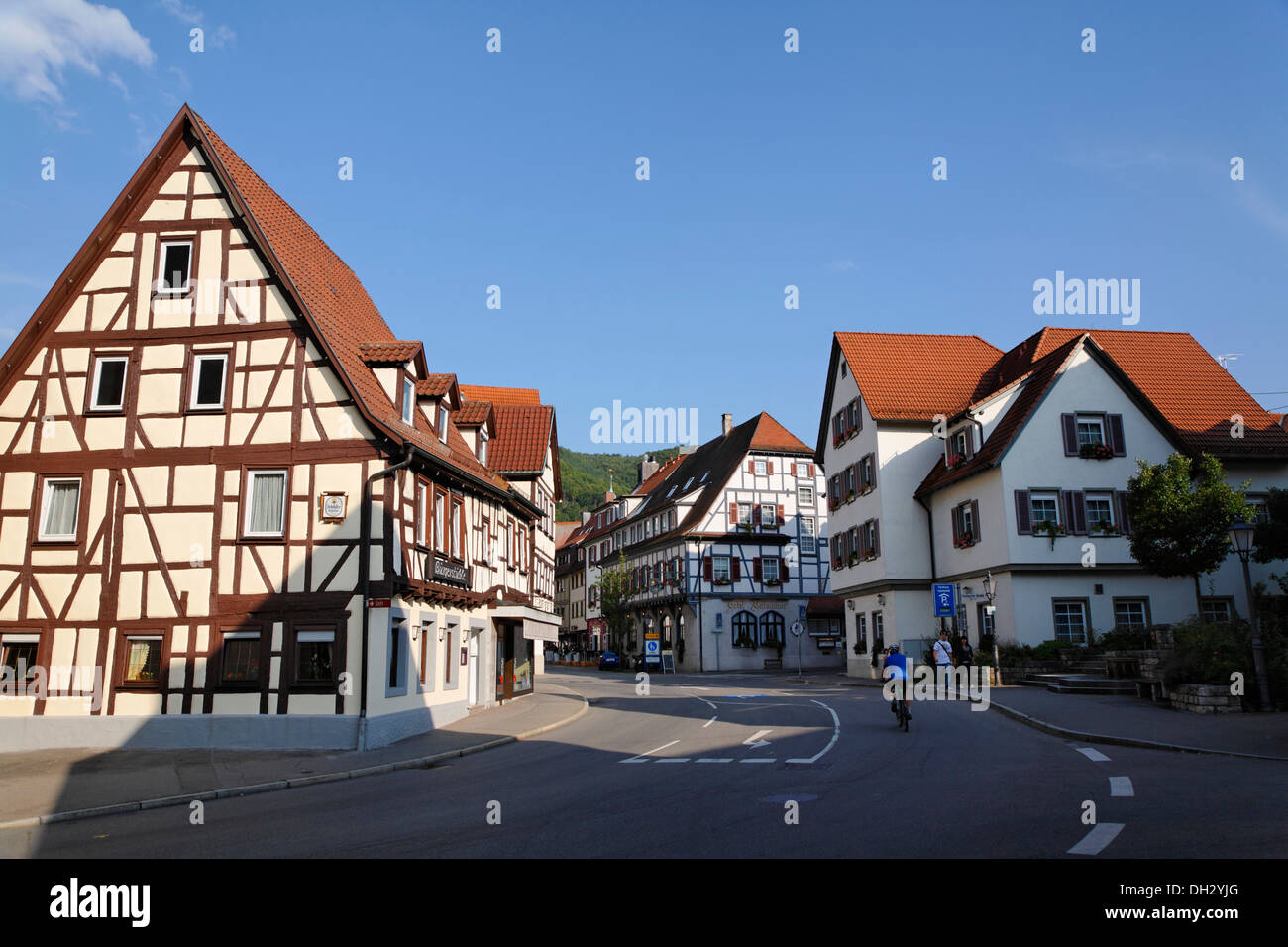 germany baden wuerttemberg bad urach half timbered house street stock photo royalty free. Black Bedroom Furniture Sets. Home Design Ideas