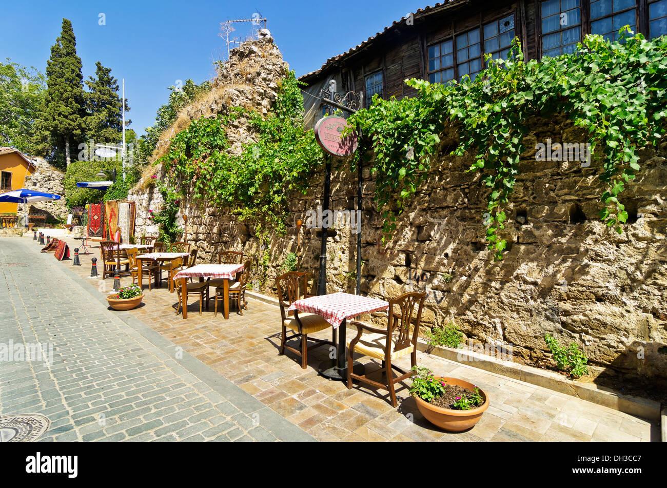 Streets in Kaleiçi, Kaleici, old town of Antalya, Turkish Riviera Stock Photo...