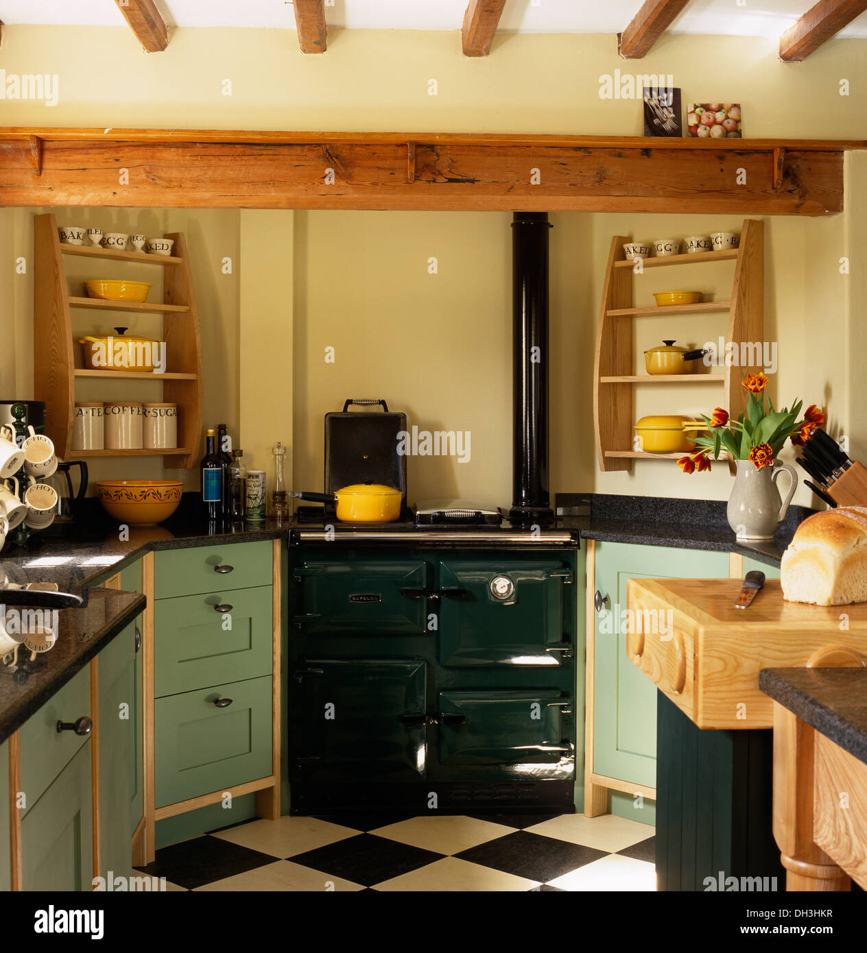 Dark Green Kitchen: Dark Green Range Oven Set Between Pale Green Fitted Units