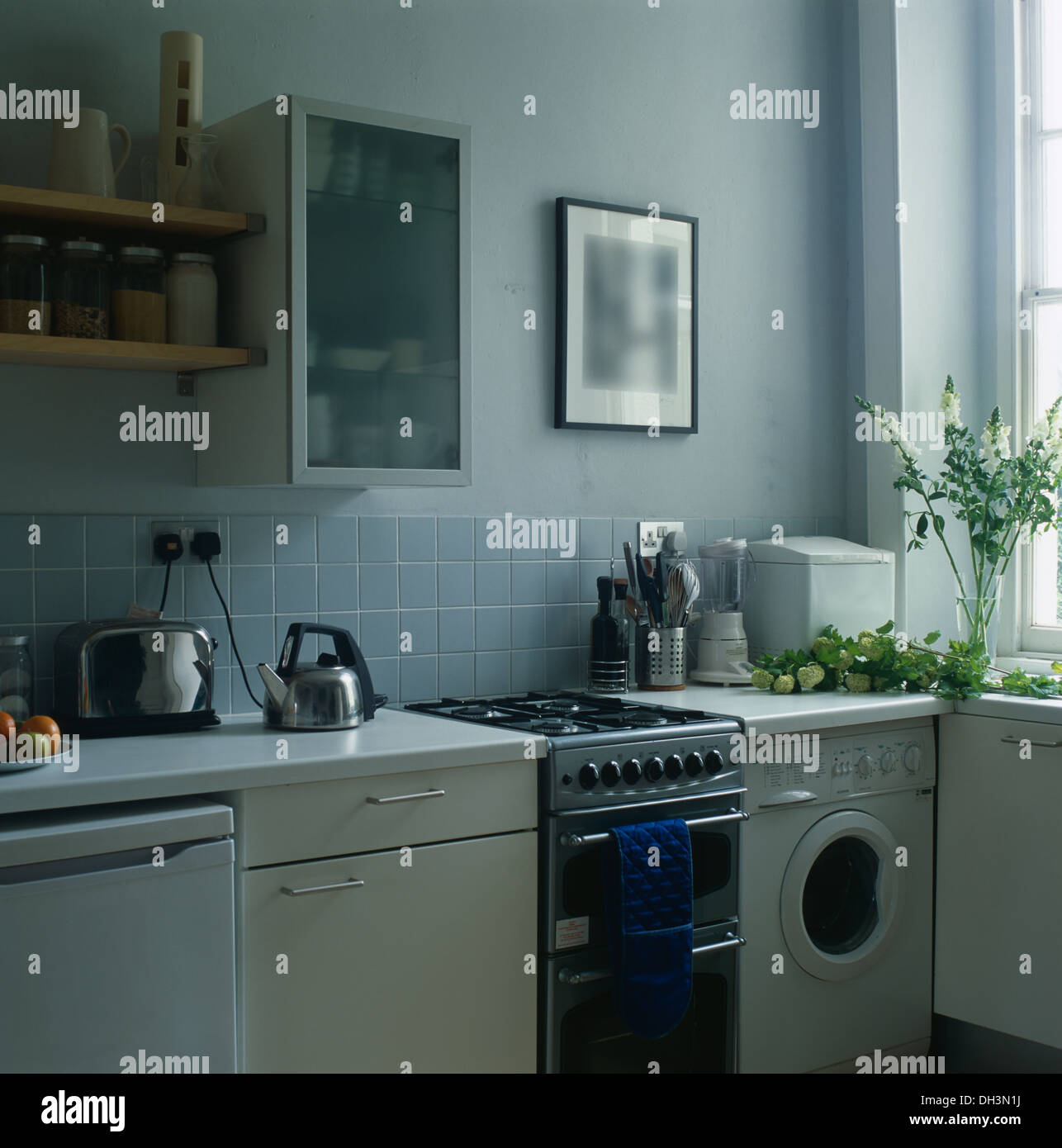 Opaque Glass Front Cabinet On Wall Above Gas Oven And Small Washing Machine  In Pale Blue