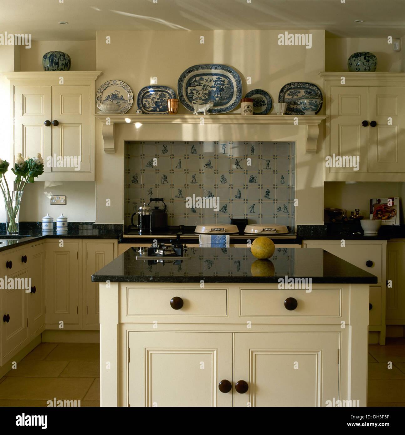 Blue Kitchen Units White Worktop