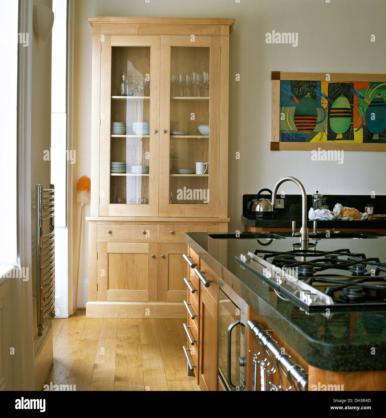 Gas Hob And Sink With Chrome Tap In Central Island Unit In Modern Stock Photo Royalty Free