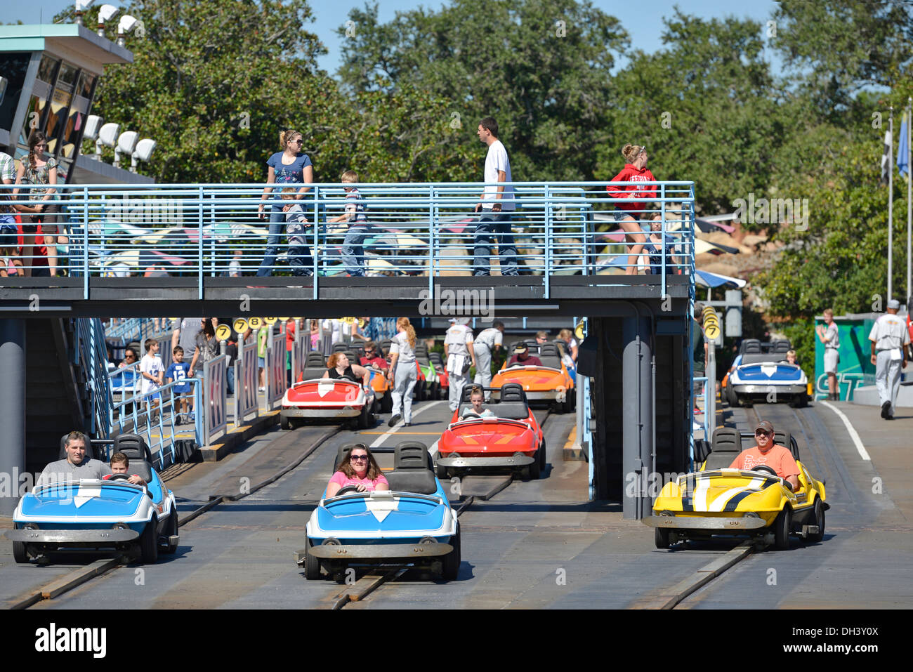 Tomorrowland Speedway Race Cars At The Magic Kingdom Disney