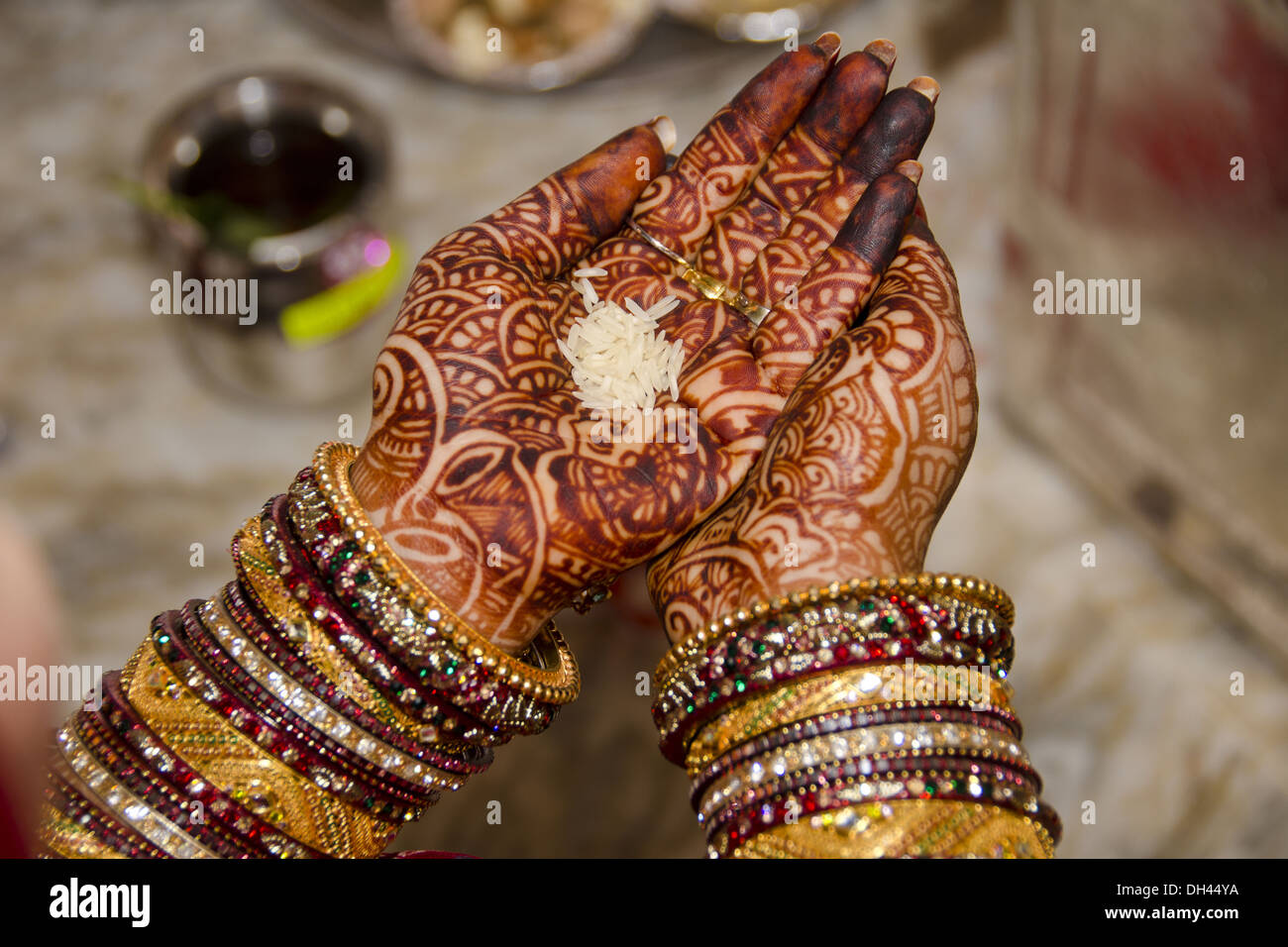 Bride In Bangles Mehndi With Rice Palm Indian Wedding Ceremony Rajasthan India