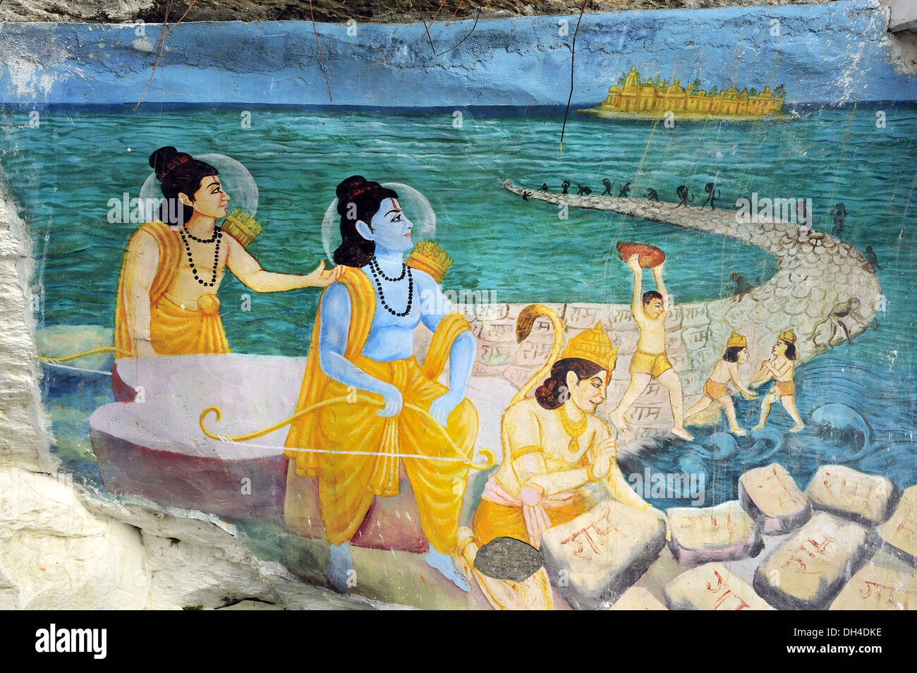 painting of lord hanuman and his army of monkeys building ram setu