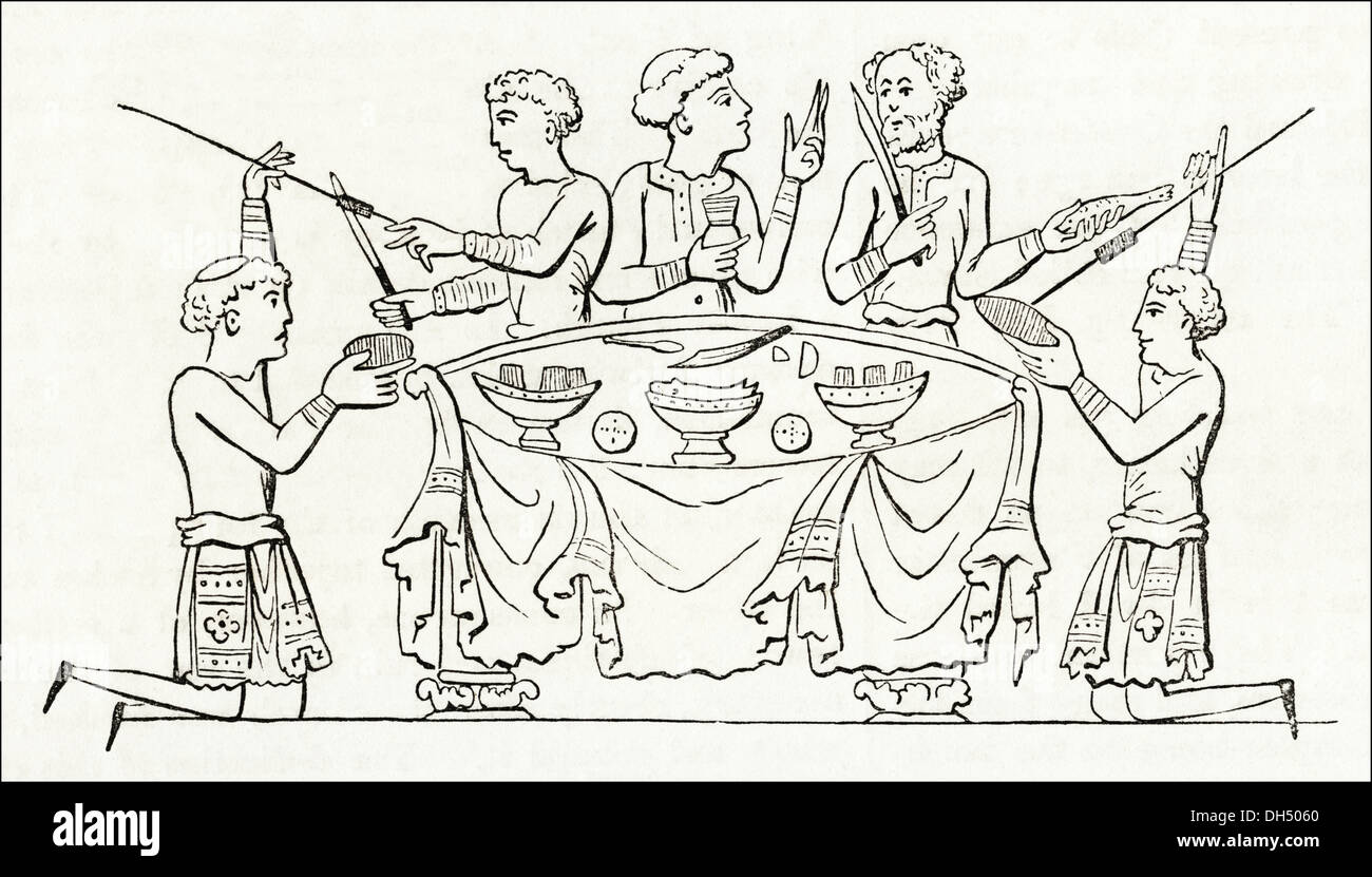 Victorian Dinner Party Part - 29: Daily Life Dinner Party Around Table In Anglo-Saxon Britain. Victorian  Woodcut Circa 1845.